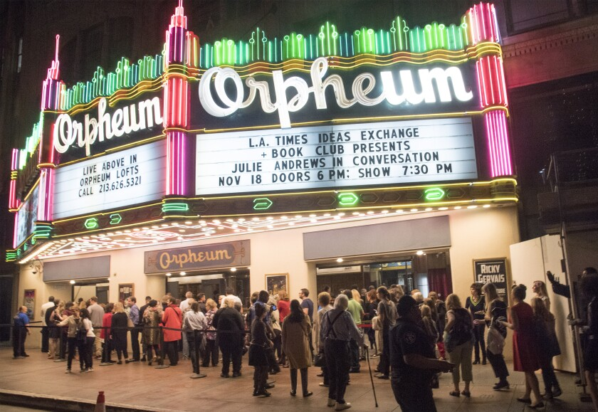 A crowd stands outside the Orpheum before going in to see Julie Andrews.