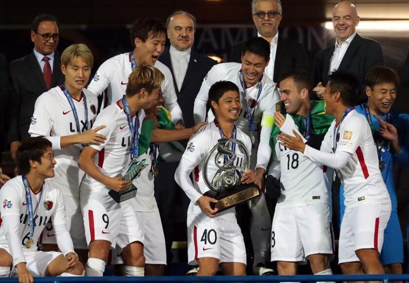 Los jugadores del Kashima Antlers celebra la consecución de la AFC Champions League en Teherán. EFE/EPA