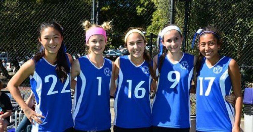 San Diego Premier Team Blue at Berkeley (left to right): Kyra Kent, Shannon Yogerst, Farah Farjood, Gabi Jimenez and Tatiana Arias.