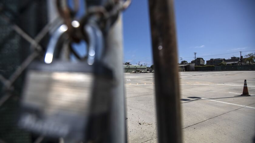 A former bus yard on Sunset Ave. is one of five public properties that could be used as sites for temporary housing for the homeless in Venice, Calif. on May 17.