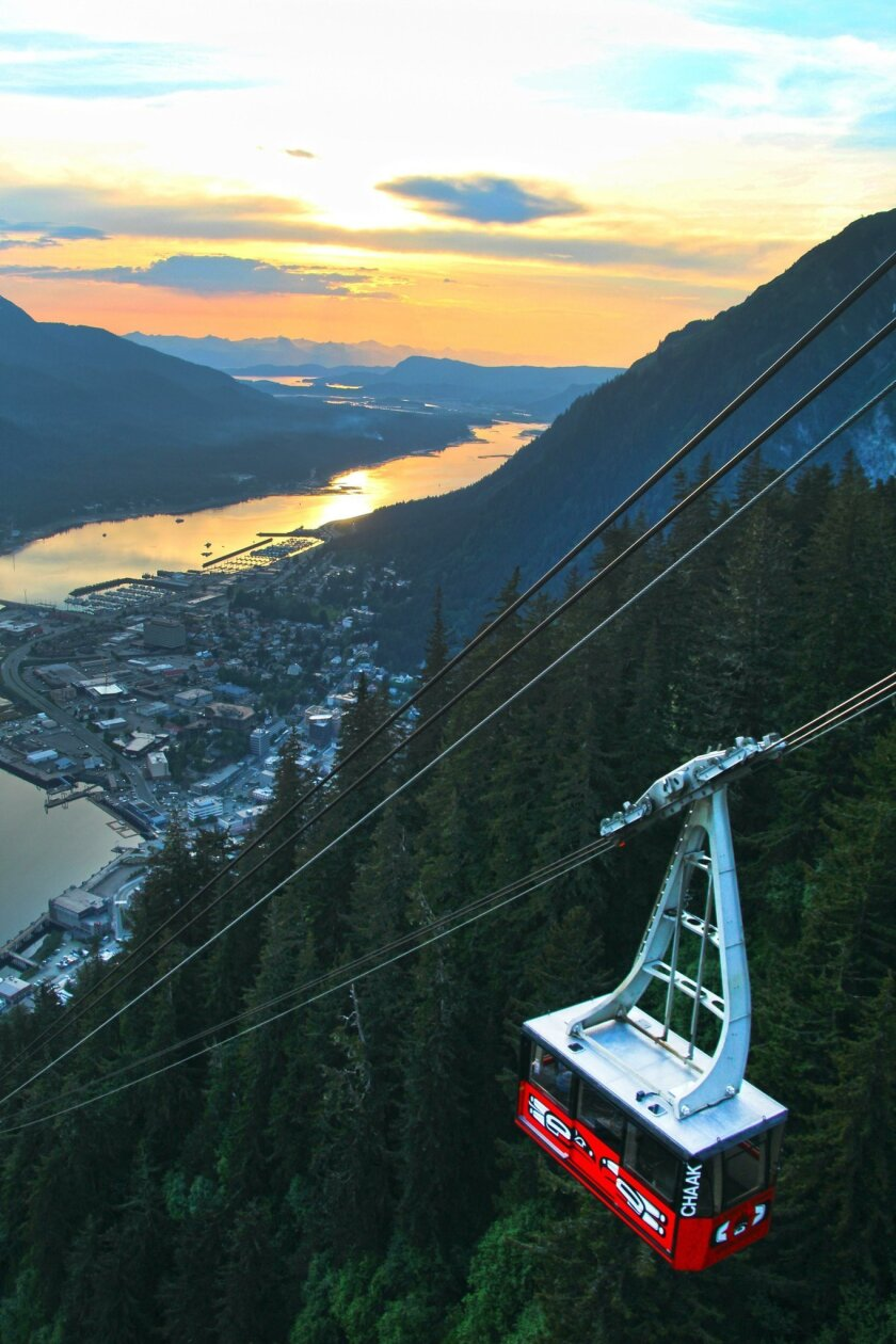 View on Tram at Sunset from Mount Roberts Tramway. Joanne DiBona photod