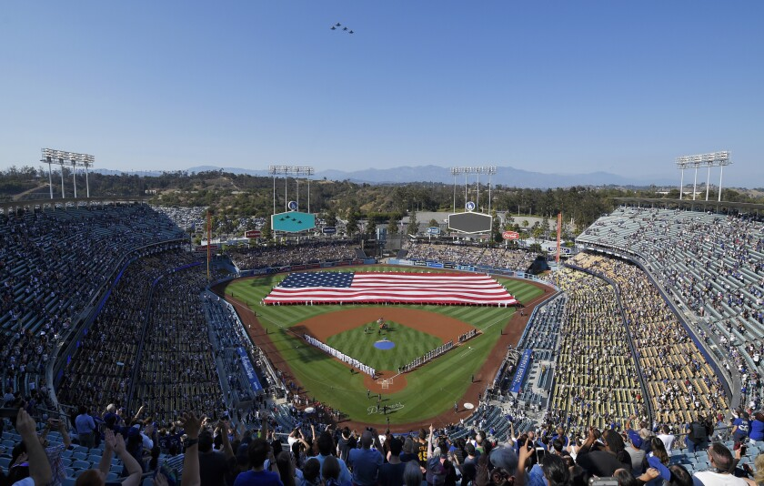 Fans attend a game between the Dodgers and Pittsburgh Pirates on July 4, 2018.
