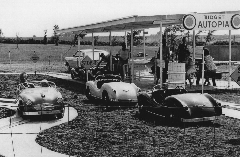 After a nine-year tenure in Anaheim, Disneyland's Midget Autopia ride moved to Marceline, Mo. (shown here), from 1966-77. That city's Walt Disney Hometown Museum is launching a campaign to rebuild and reopen the attraction.
