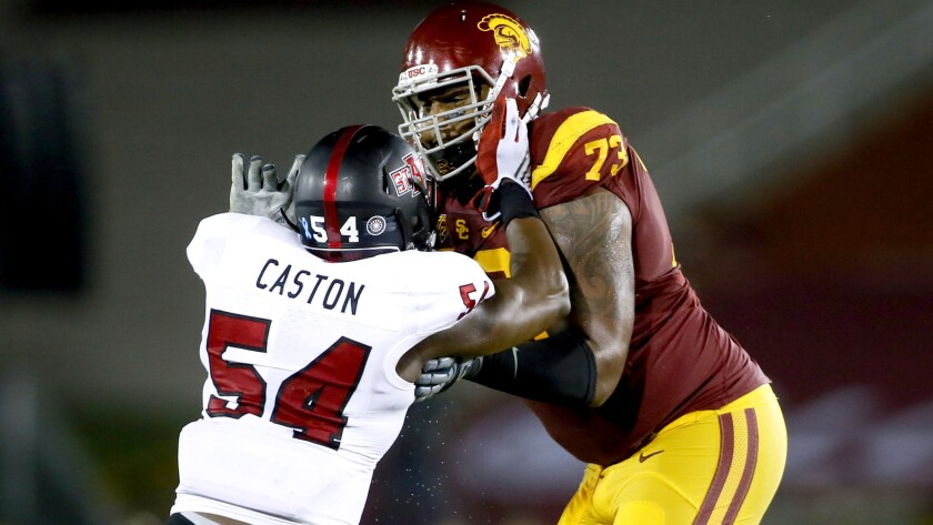 info for 8bdb0 ddc21 USCs Zach Banner moves to left tackle against Utah - Los ...