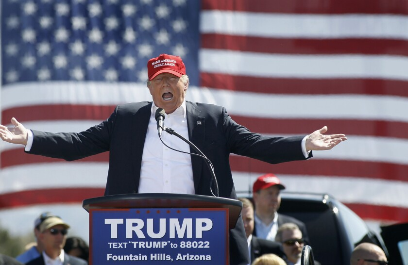 Donald Trump appears in Fountain Hills, Ariz., on March 19.