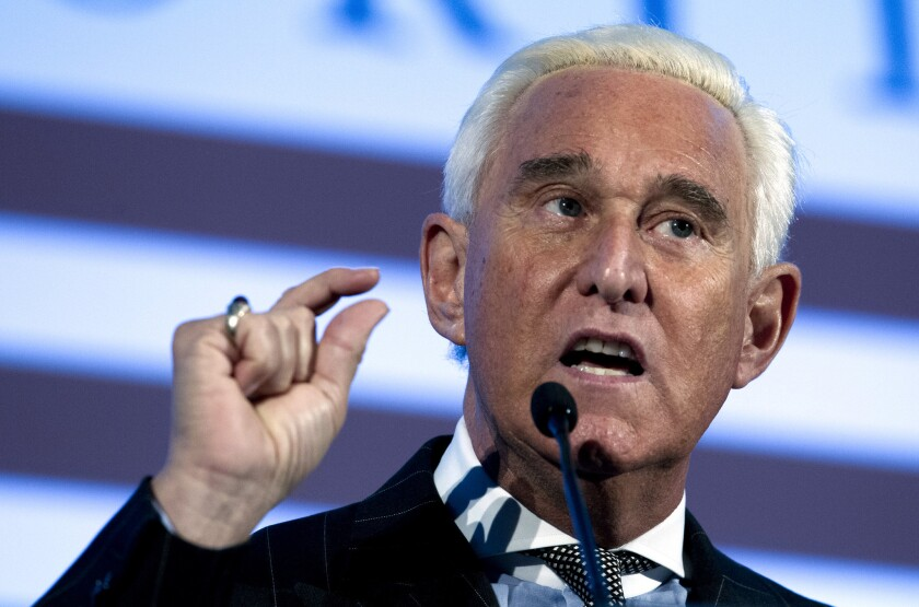 Roger Stone speaks at the American Priority Conference in Washington on Dec. 6, 2018.