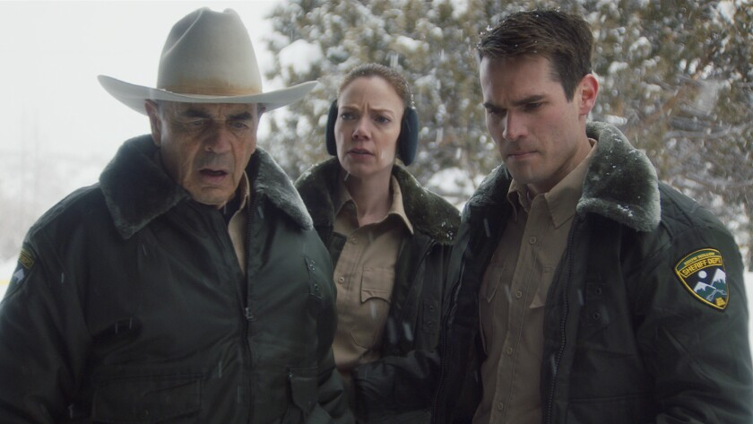 """Robert Forster, Riki Lindhome and Jim Cummings in the movie """"The Wolf of Sleepy Hollow."""""""
