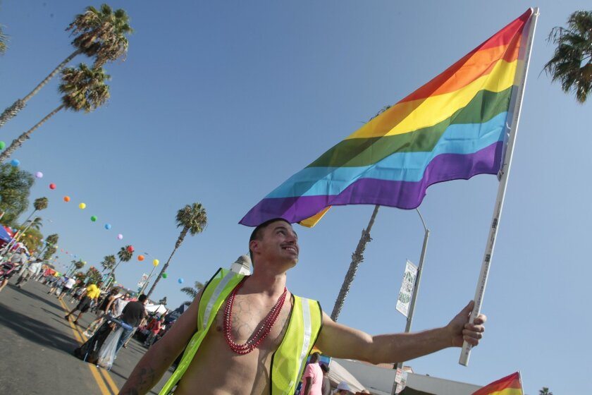 A parade-goer holds up the Pride flag during the seventh annual Pride By the Beach event.
