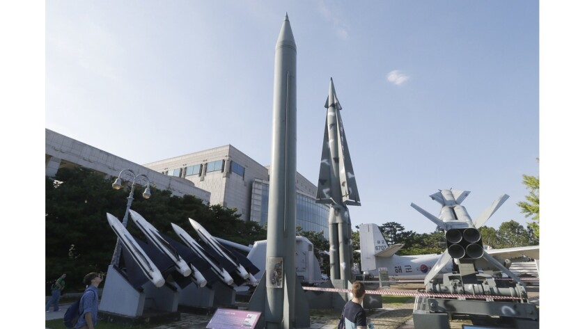 Models of North and South Korean missiles