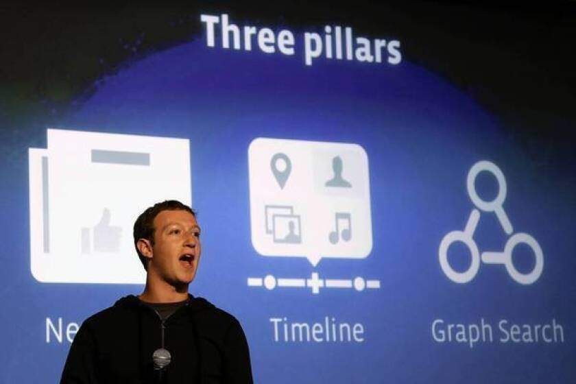 """Facebook Chief Executive Mark Zuckerberg introduces the new Graph Search feature at the company's headquarters in Menlo Park, Calif. """"Graph Search is a completely new way for people to get information on Facebook,"""" he said."""