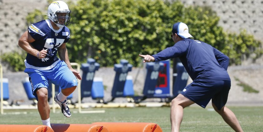 Chargers outside linebacker Colton Underwood participates in a bag drill during 2015 minicamp.
