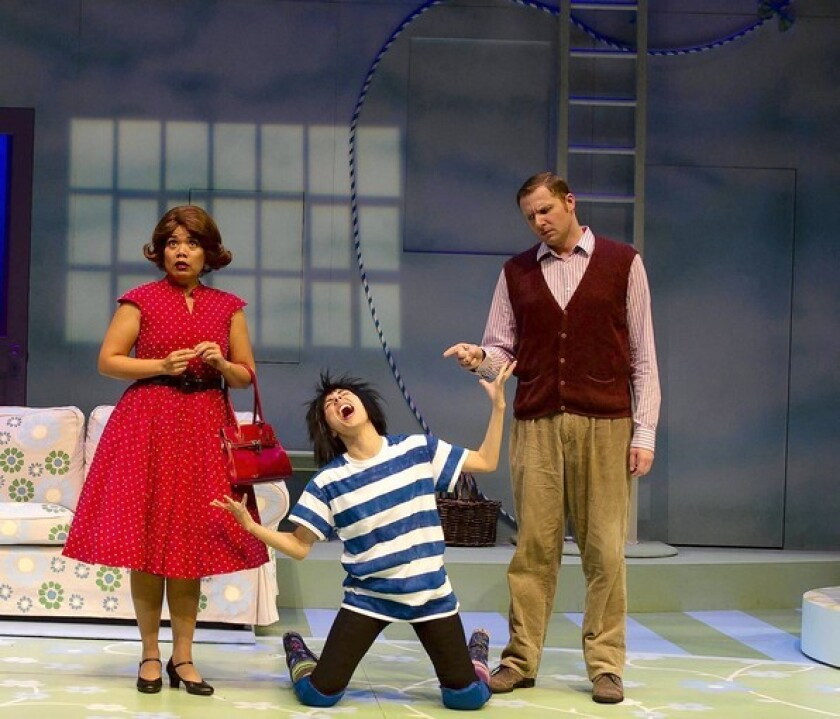 "William Martinez, right, is the dad in ""Ivy + Bean: The Musical."" With him are Melody Butiu, left, as the mom and Elia Saldana, center, as Bean. Martinez has two roles in the production."