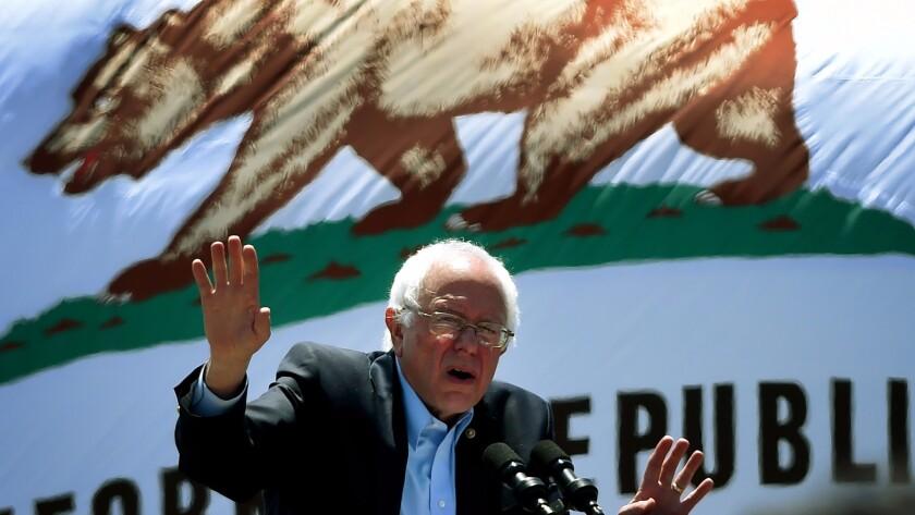 Democratic presidential hopeful Bernie Sanders fires up supporters in Ventura.