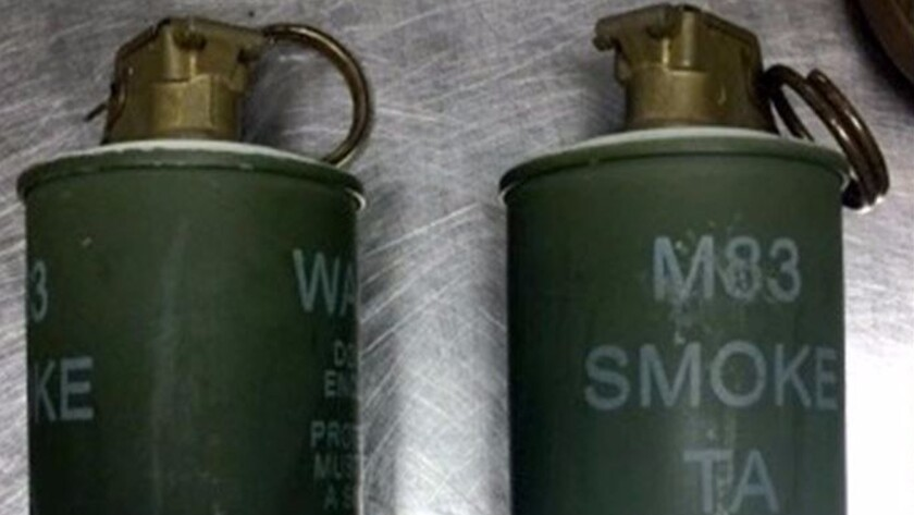 TSA agents found these two live smoke grenades in a carry-on bag at Detroit Metropolitan Wayne County Airport.