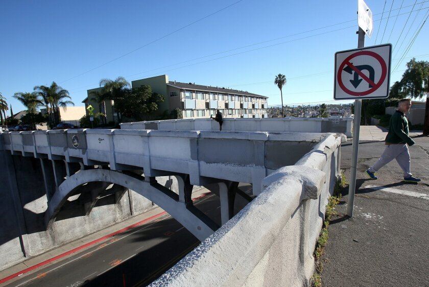 The Georgia Street Bridge which carries Georgia Street over University Avenue near the Hillcrest/North Park border was labeled structurally deficient in 2010 when Caltrans ran seismic tests on a number of bridges throughout San Diego County. It is slated to be rebuilt starting in August 2015.
