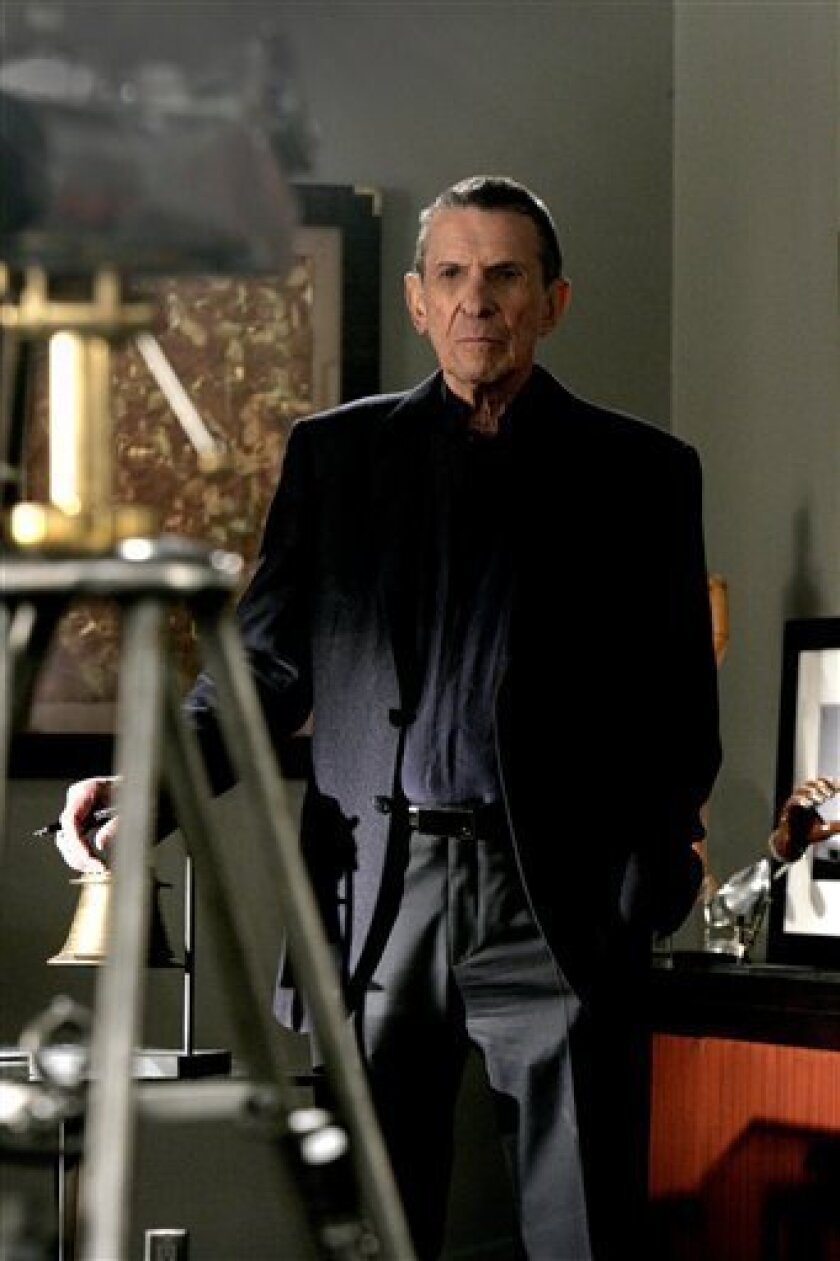"In this TV publicity image released by Fox, Leonard Nimoy guest-stars as William Bell, owner and founder of Massive Dynamics, in the season finale of ""Fringe,"" airing Tuesday, May 12, 2009, at 9:00 p.m. EDT. (AP Photo/Fox, Craig Blankenhorn)"