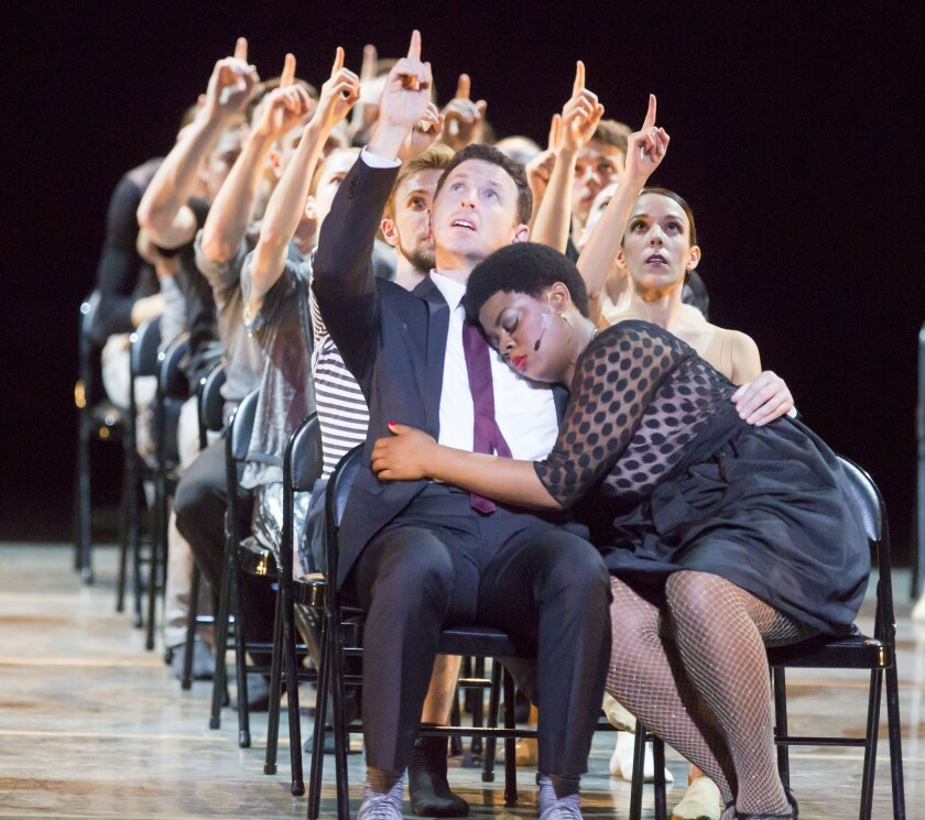 """Tim Mason, left, Rashawn Scott and the ensemble of """"The Art of Falling"""" perform in Chicago on Oct. 15, 2014."""