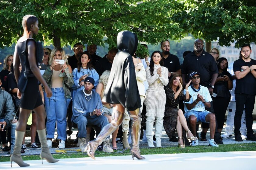 Looks from the Yeezy Season 4 runway finale at the Franklin D. Roosevelt Four Freedoms Park on Roosevelt Island are seen during New York Fashion Week.