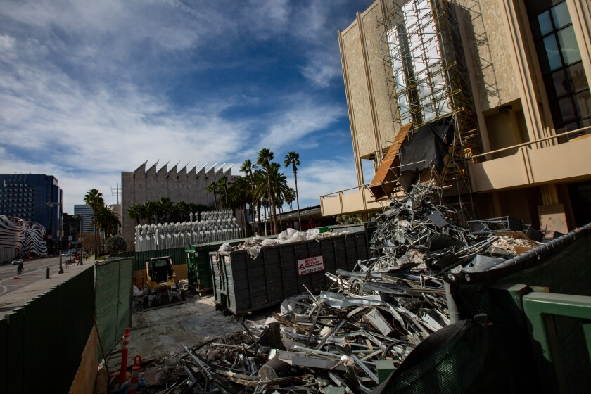 Work is underway in one of the LACMA buildings slated for demolition.