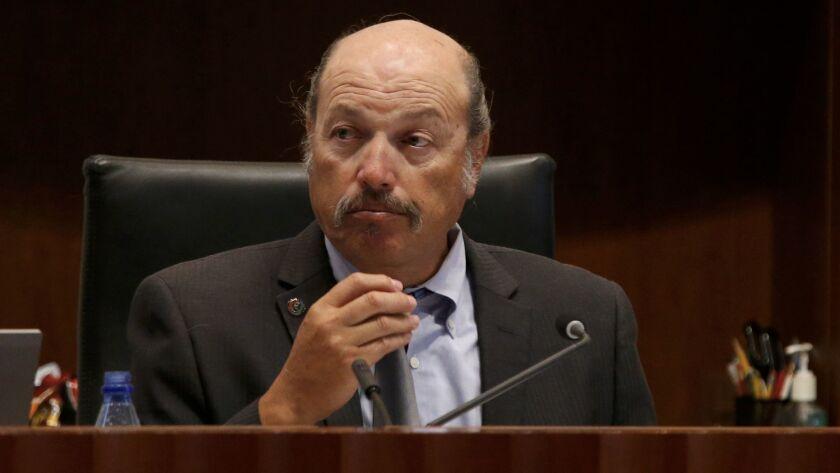 Tony Vazquez listens during a Santa Monica City Council meeting in 2015.