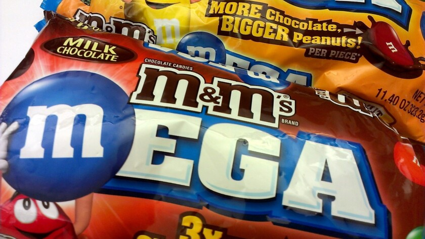 Mars' new M&M's Mega have three times as much chocolate as regular M&M's.