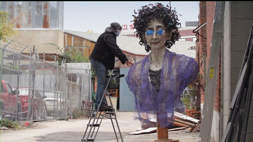 """A scene from """"Heaven is a Traffic Jam on the 405,"""" an Oscar-nominated short film about the 56 year-old artist Mindy Alper."""