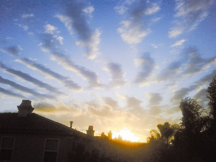 The cloud pattern over Carmel Valley five days before the 7.2 quake in Baja.