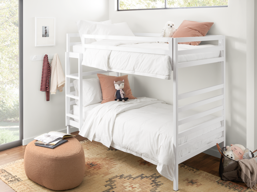 Room & Board's Fort bunk beds also feature steel frames available in a range of colors.