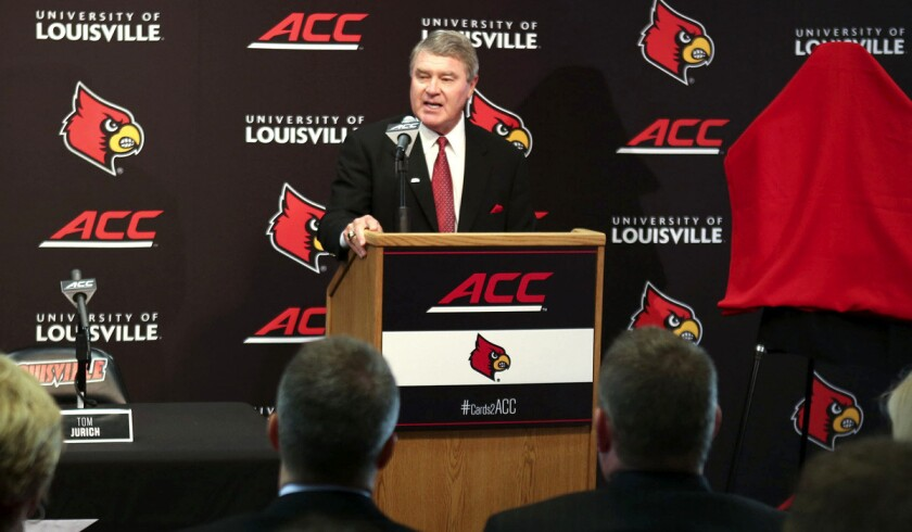 ACC commissioner John Swofford addresses the media.
