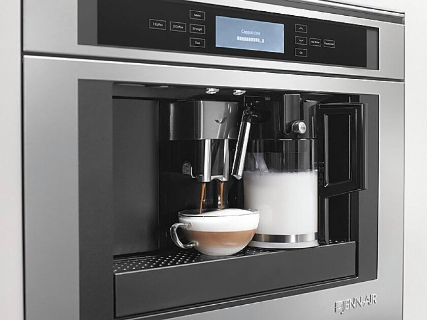 This built-in, plumbed coffee maker from Jenn-Air could make Starbucks visits a memory.