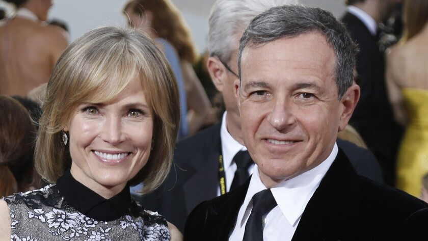 Willow Bay, left, with husband Bob Iger at the 2015 Golden Globe Awards.