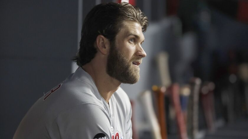 LOS ANGELES, CALIF. - MAY 31, 2019. Phillies right fielder Bryce Harper in the team's dugout durin