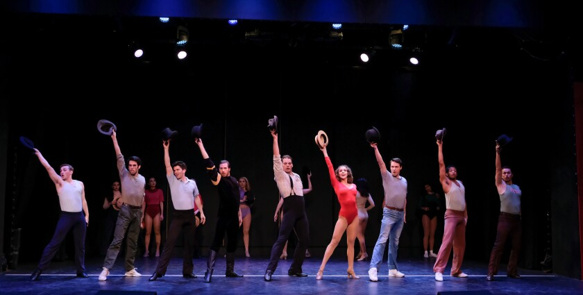 "Broadway hopefuls run through a dance audition in a scene from the Welk Resorts Theatre revival of ""A Chorus Line."""