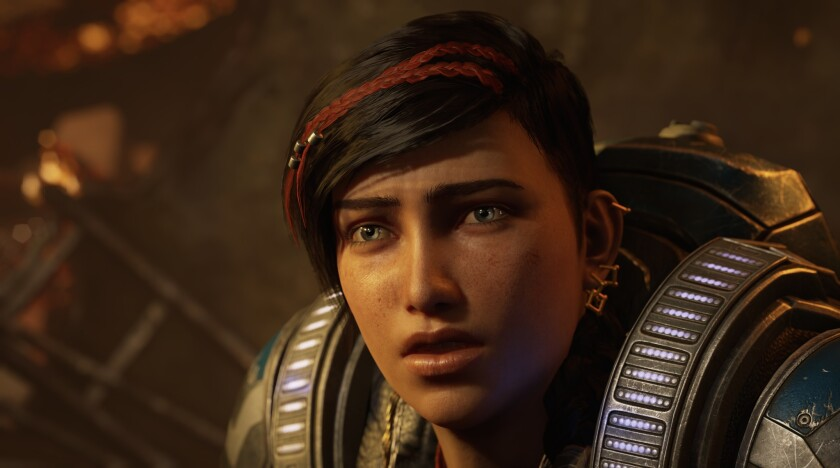 """Gears 5,"" featuring Kait Diaz, the first female protagonist in the ""Gears of War"" series."