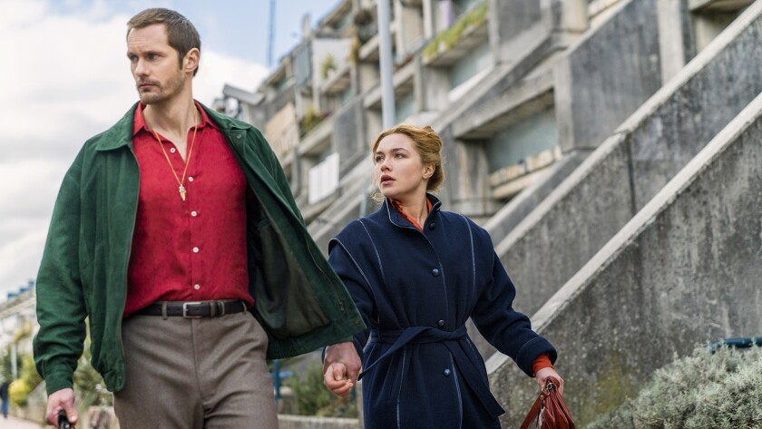 "Alexander Skarsgård and Florence Pugh in ""The Little Drummer Girl"" on AMC."