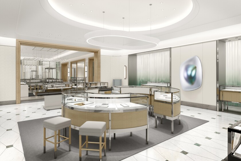 EMBARGOED UNTIL 10/19/2020 @ 8 A.M. - Rendering of the jewelry room Tiffany & Co. store in South Coast Plaza.
