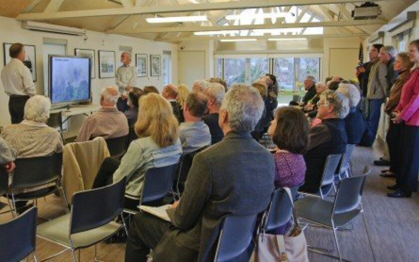 Charles Smith and Ivan Gayler present a recent lecture. Courtesy photo