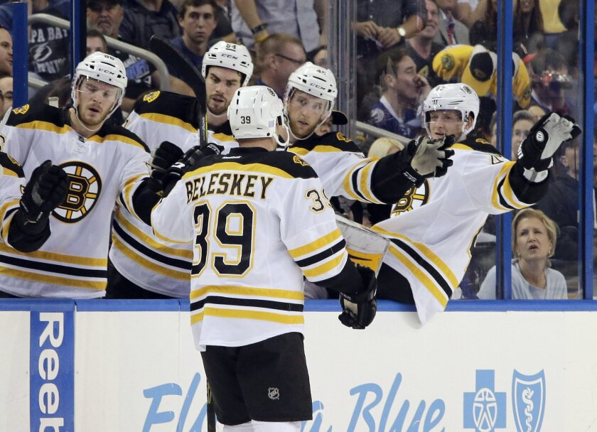 Boston Bruins left wing Matt Beleskey (39) celebrates with teammates on the bench after scoring against the Tampa Bay Lightning  during the first period of an NHL hockey game Saturday, Oct. 31, 2015, in Tampa, Fla. (AP Photo/Chris O'Meara)