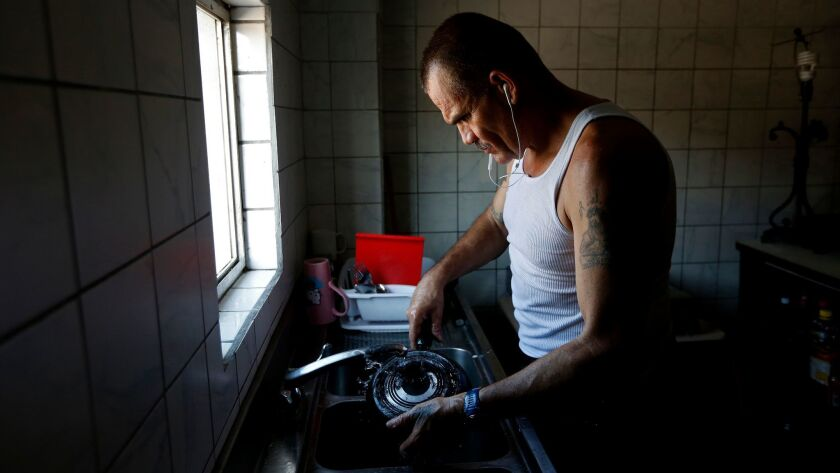 Alex Gomez, 50, a veteran of the U.S. Marines, lives at the Deported Veterans Support House.