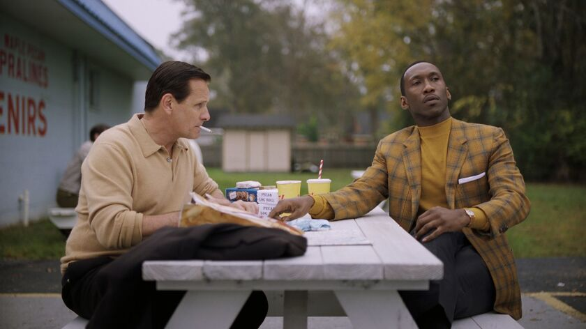 "Viggo Mortensen as Tony Vallelonga and Mahershala Ali as Dr. Donald Shirley in the film ""Green Book."""