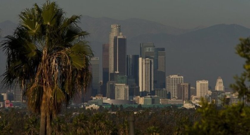 Office towers dominate the skyline of downtown Los Angeles.