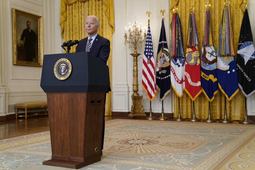 President Joe Biden listens to a question as he speaks about the American troop withdrawal from Afghanistan, in the East Room of the White House, Thursday, July 8, 2021, in Washington. (AP Photo/Evan Vucci)