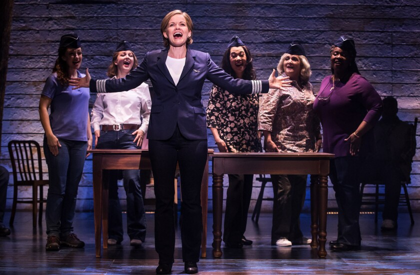 """L-R: Megan McGinnis, Emily Walton, Becky Gulsvig, Christine Toy Johnson, Julie Johnson and Danielle K. Thomas in the First North American Tour of â€""""Come From Away."""""""