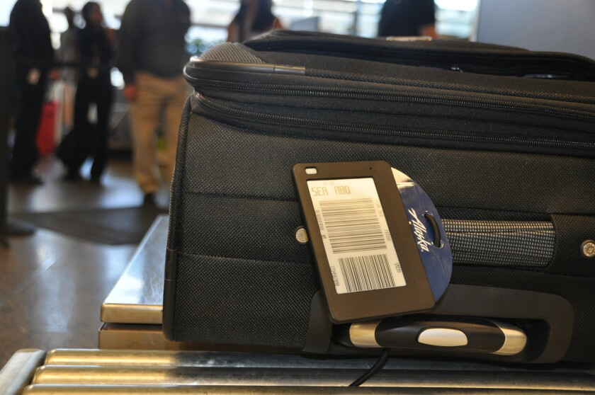 Alaska Airlines is testing a reusable, electronic luggage tag.