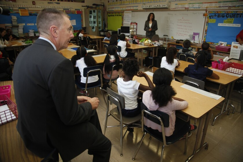 The first day of instruction at Baldwin Hills Elementary School