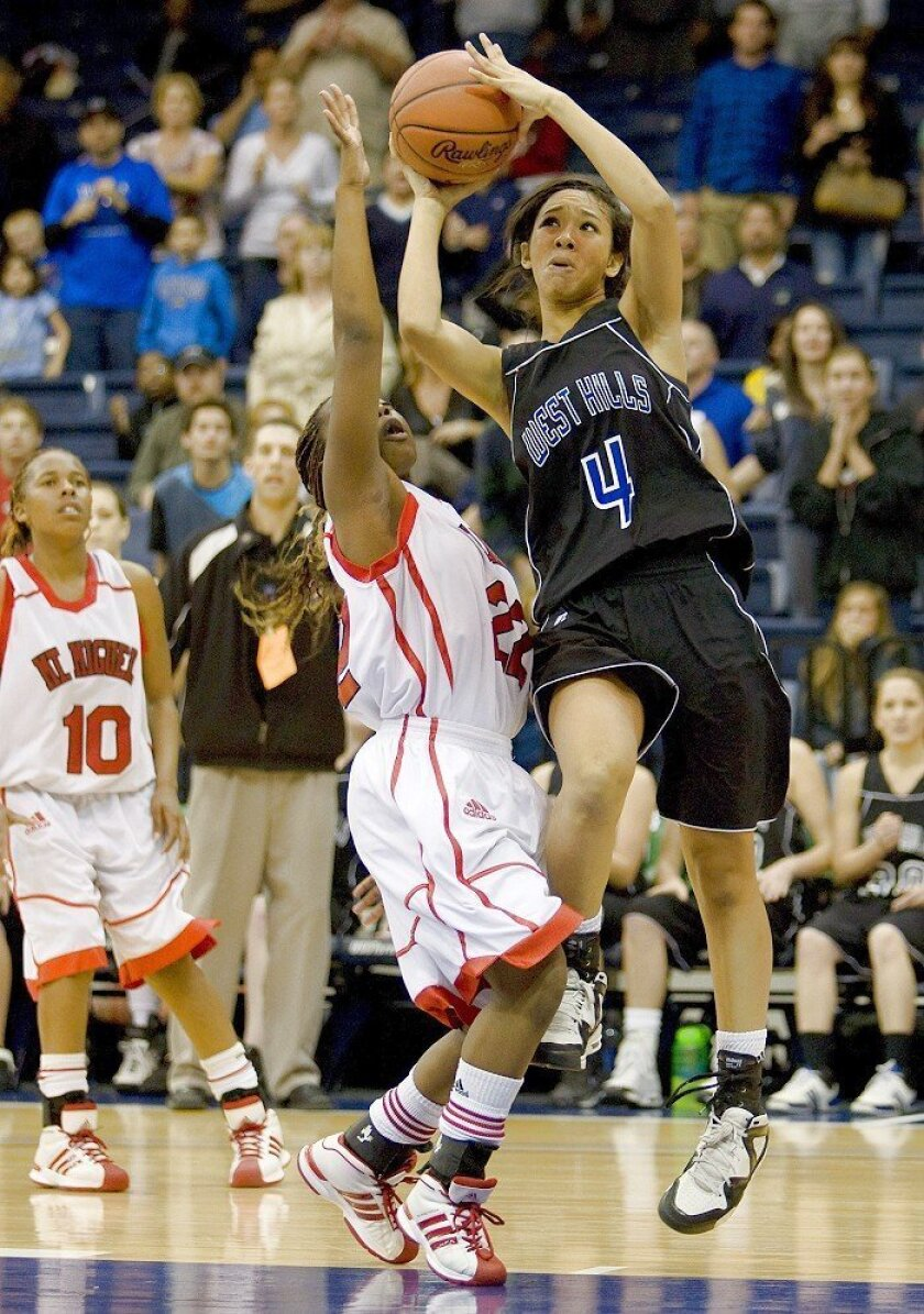 Sherika Miller hits the winning shot for West Hills in last season's section final.