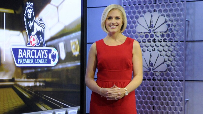 Rebecca Lowe serves as the studio host for NBC's coverage of the Premier League.