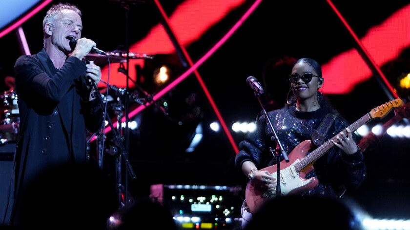 "Sting and H.E.R. in ""Global Citizen Prize"" on NBC."