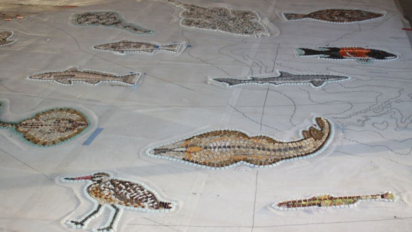 """Mosaic-tile segments of the in-process installation for """"The Map"""" in La Jolla Shores"""