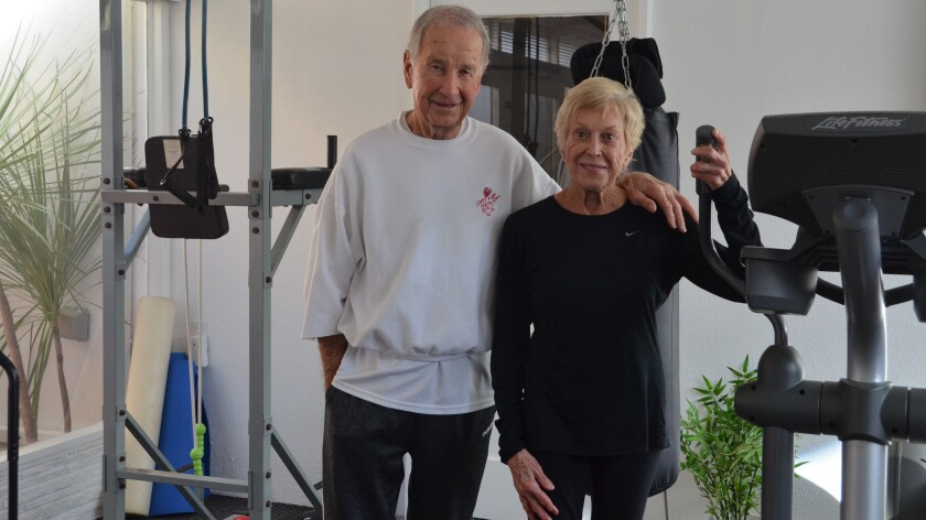 Harold and Eileen Graham, both in their 80s, have a gym at their home in Newport Beach, but both also regularly attend group fitness classes.
